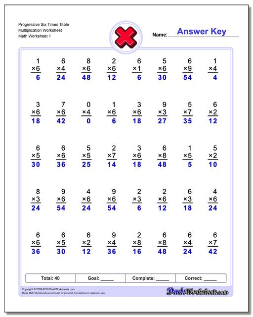 Multiplication Worksheets Progressive Six Times Table Worksheets