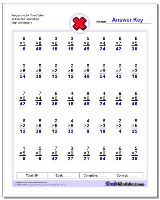 Multiplication Worksheet Progressive Six Times Table Worksheet