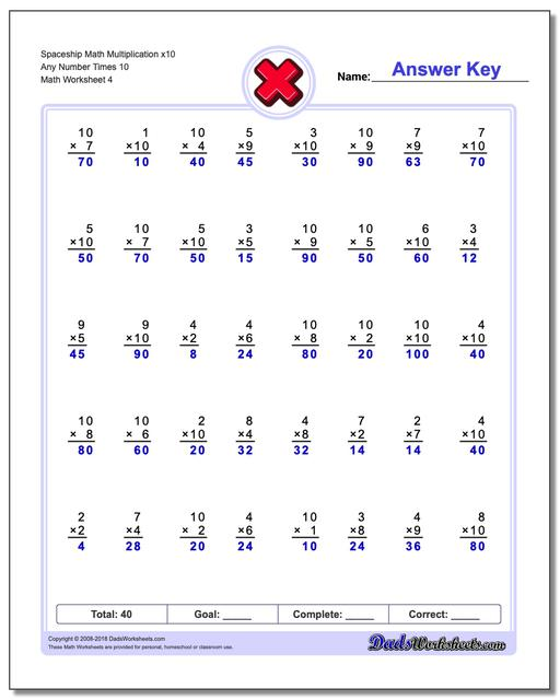 Spaceship Math Multiplication Worksheet x10 Any Number Times 10