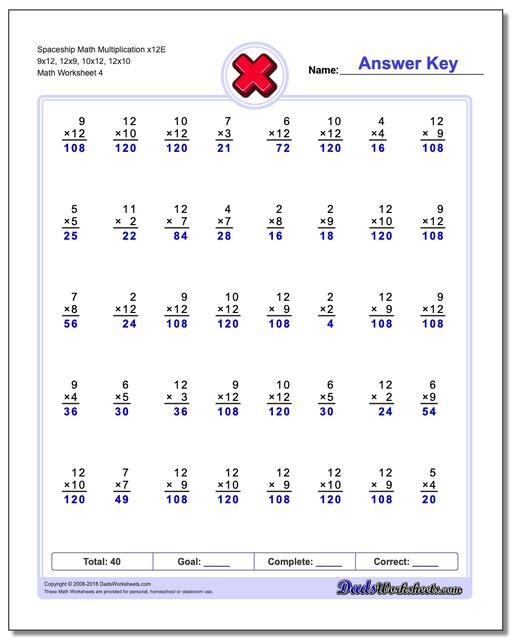 Spaceship Math Multiplication Worksheet x12E 9x12, 12x9, 10x12, 12x10