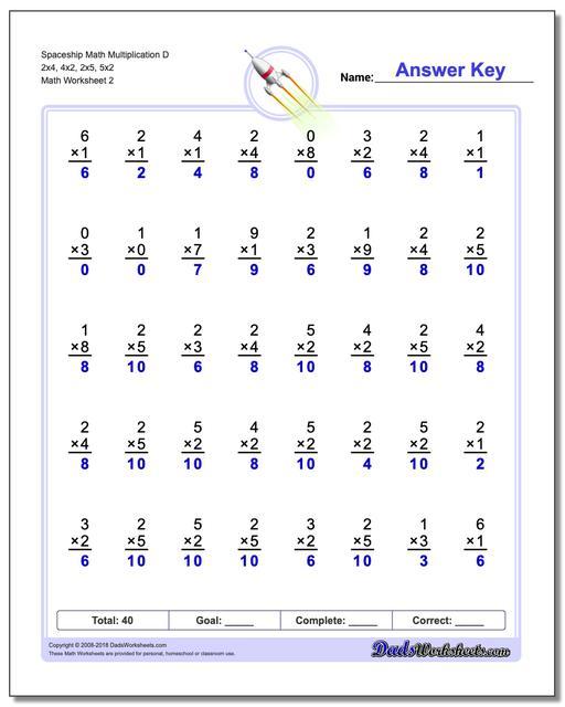 Spaceship Math Multiplication Worksheet D 2x4, 4x2, 2x5, 5x2 www.dadsworksheets.com/worksheets/multiplication.html