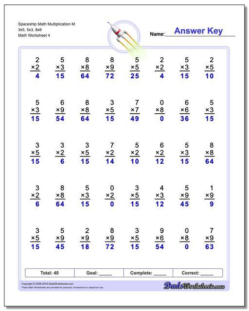 Spaceship Math Multiplication Worksheet M 3x5, 5x3, 8x8