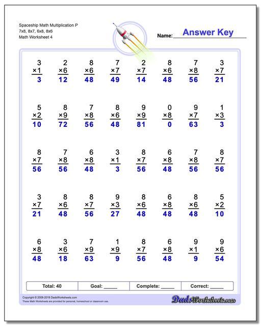 Spaceship Math Multiplication Worksheet P 7x8, 8x7, 6x8, 8x6