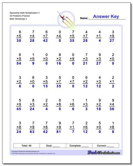 Spaceship Math Multiplication Worksheet V All Problems Worksheet Practice