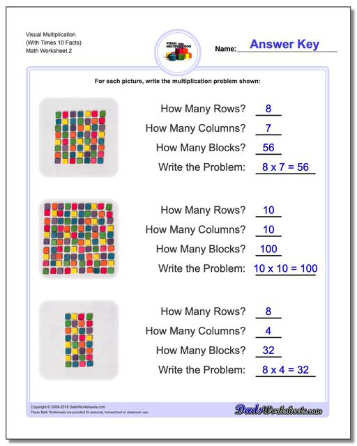Visual Multiplication Worksheet (With Times 10 Facts) www.dadsworksheets.com/worksheets/multiplication.html