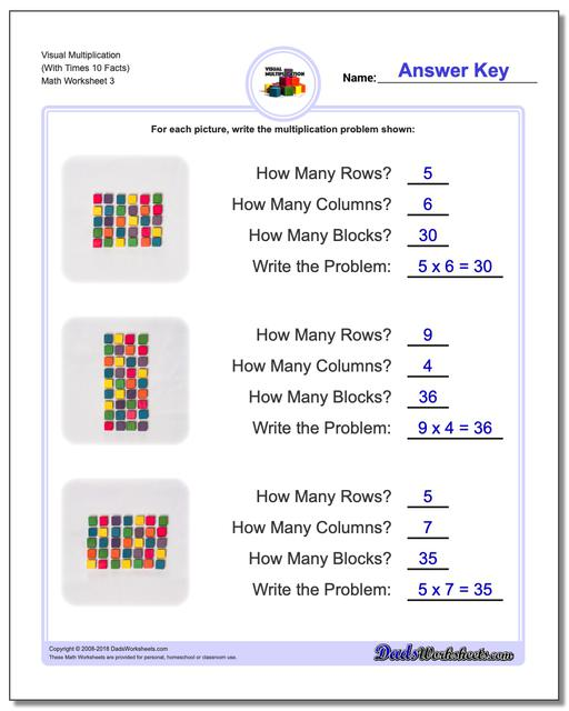 Visual Multiplication Worksheets