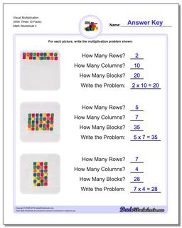 Visual Multiplication Worksheet (With Times 10 Facts) #Multiplication #Worksheet