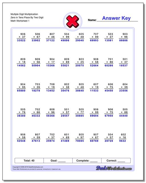math worksheet : zeroes in tens place : Place Value Multiplication Worksheets