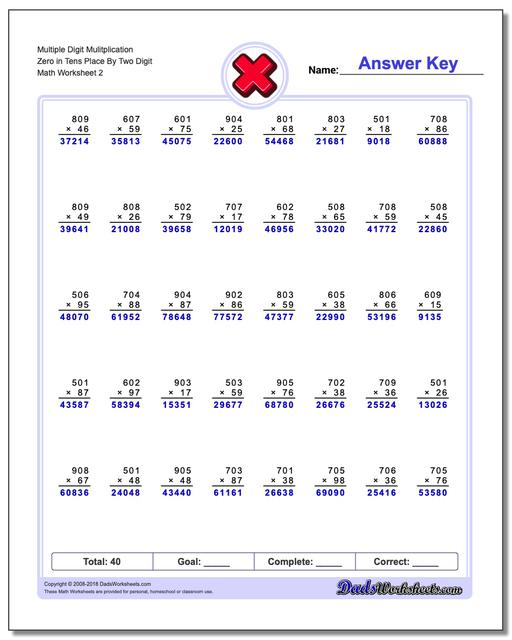 Multiple Digit Mulitplication Zero in Tens Place By Two Digit www.dadsworksheets.com/worksheets/multiplication.html Worksheet