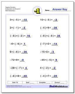 Negative Numbers Multiplication Worksheet and Division Worksheet 2 #Negative #Numbers #Worksheet