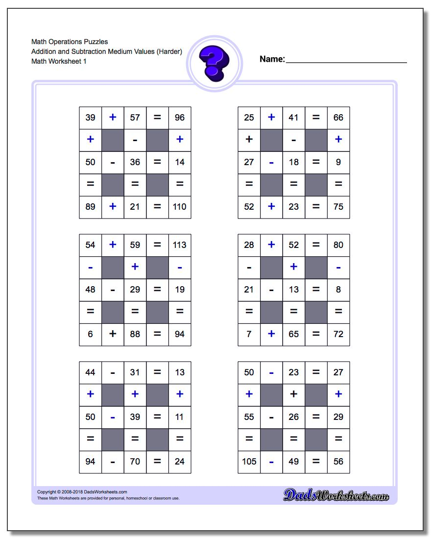 Number Grid Puzzle Math Operations Addition and Subtraction Medium Values (Harder)