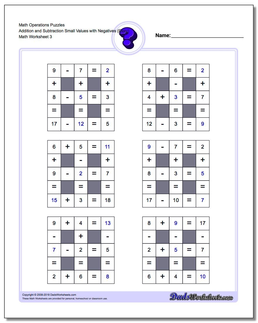 Math Operations Puzzle Addition and Subtraction Small Values with Negatives (Easy)