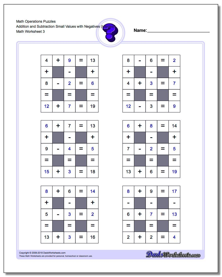 Math Operations Puzzle Addition and Subtraction Small Values with Negatives (Hardest)