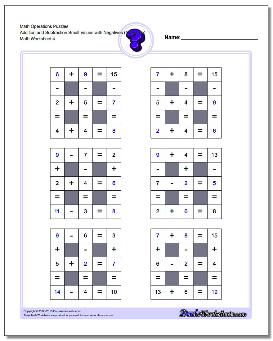 Math Operations Puzzle Addition and Subtraction Small Values with Negatives (Moderate)