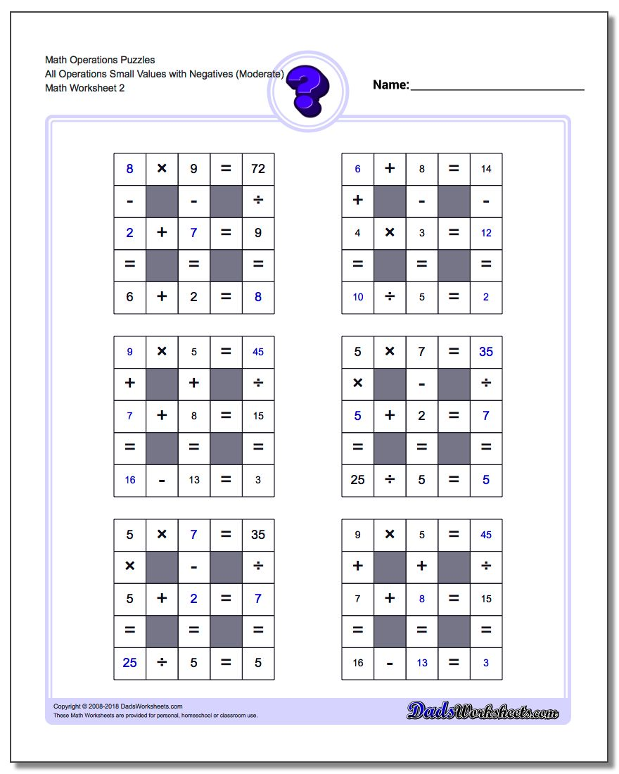 Math Operations Puzzle All Operations Small Values with Negatives (Moderate) www.dadsworksheets.com/worksheets/number-grid-puzzles.html