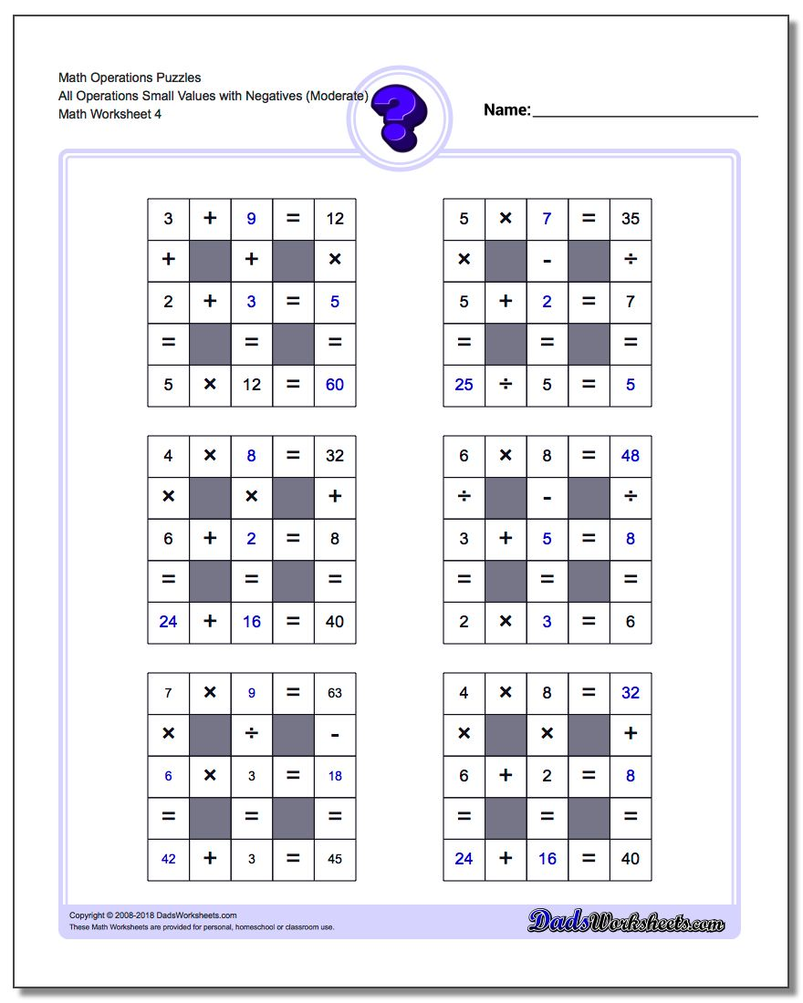 Math Operations Puzzle All Operations Small Values with Negatives (Moderate)