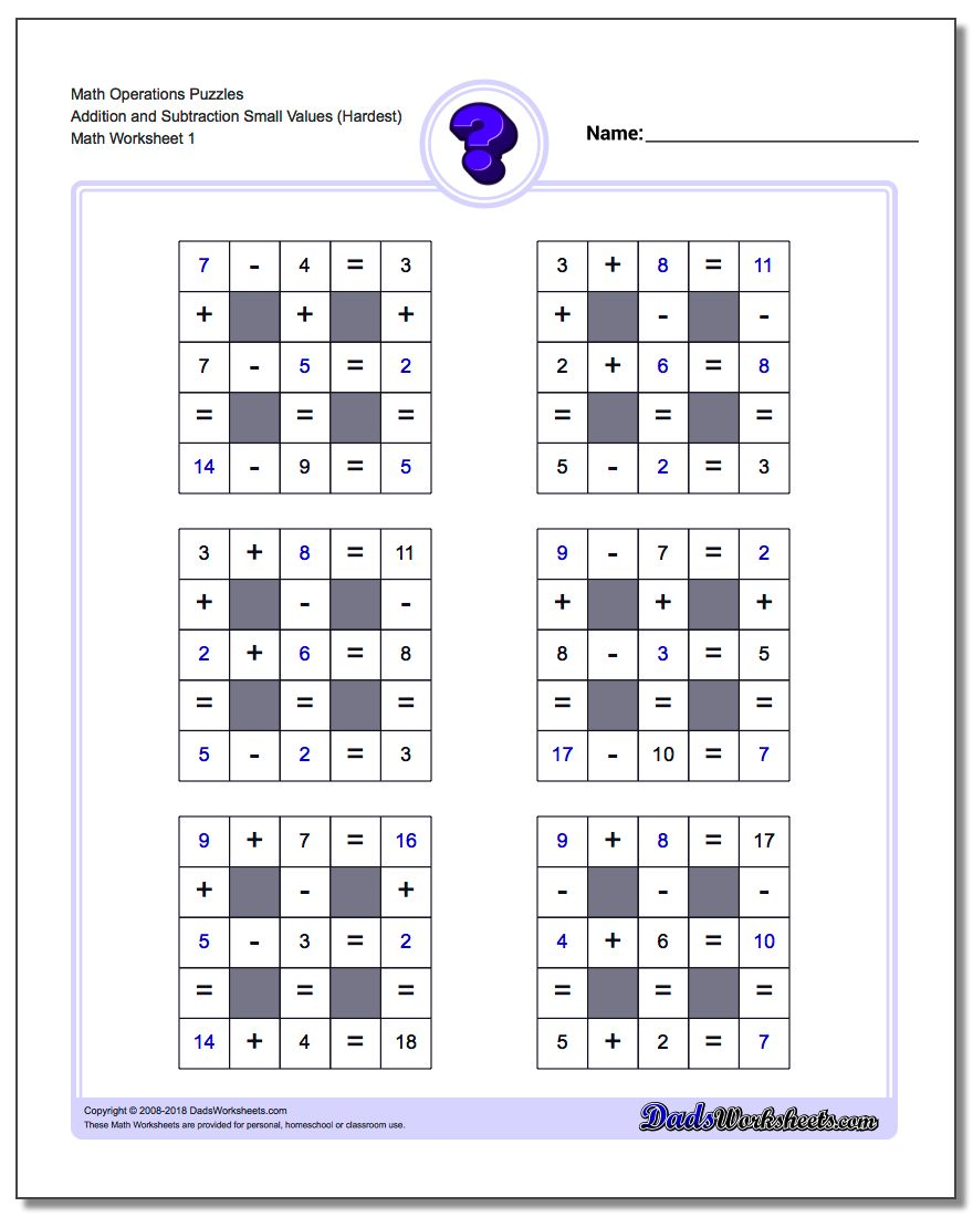 Number Grid Puzzle Math Operations Addition and Subtraction Small Values (Hardest)
