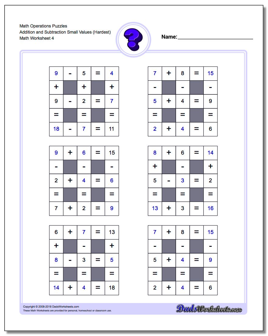 Math Operations Puzzle Addition and Subtraction Small Values (Hardest)