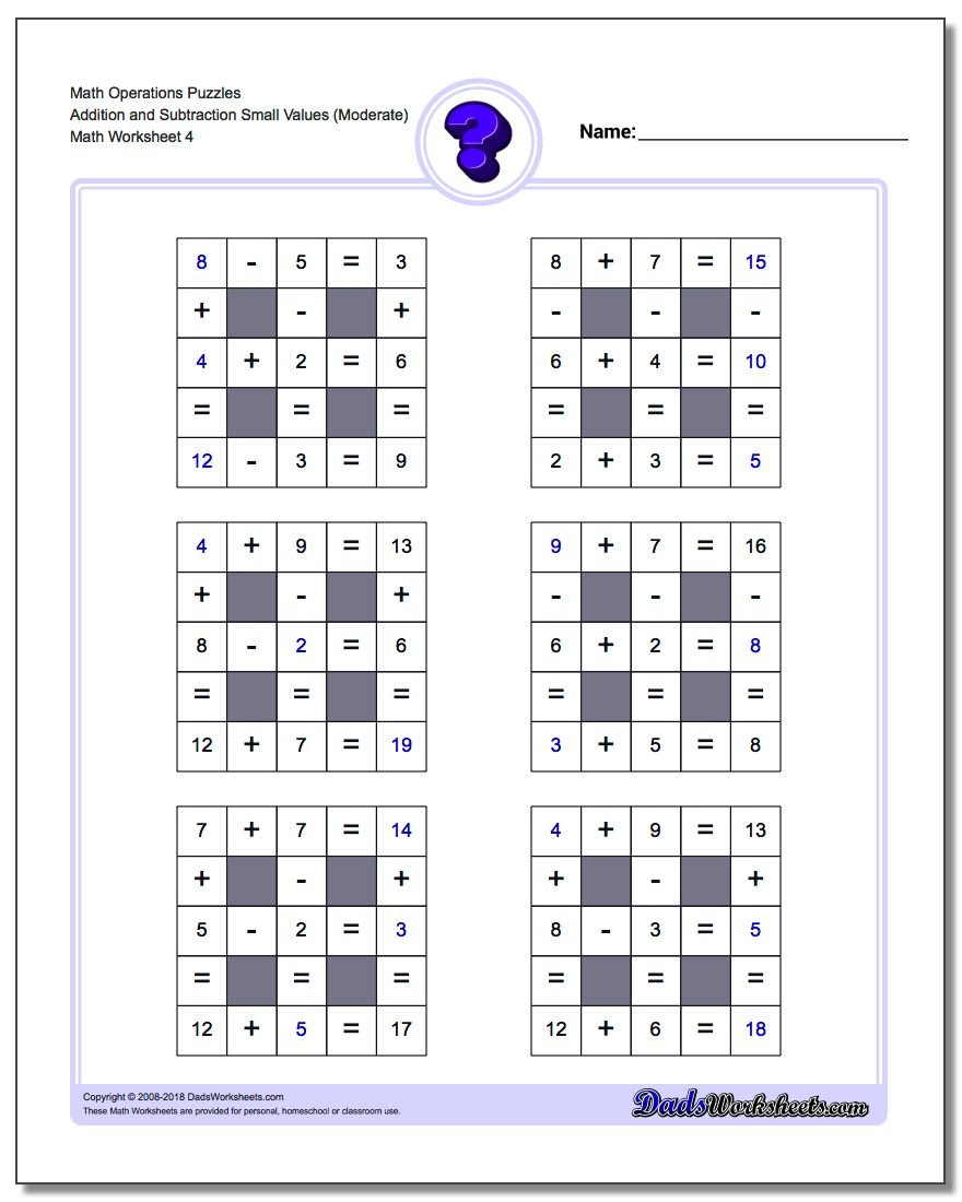 Math Operations Puzzle Addition and Subtraction Small Values (Moderate)