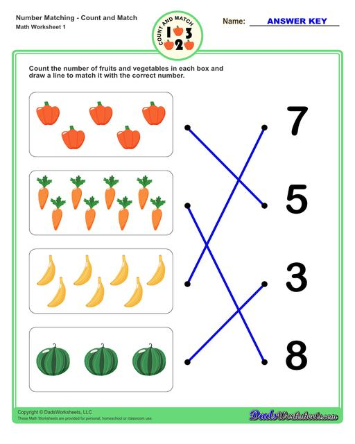 Number matching worksheets for preschool students to practice identifying and matching counts of objects to their number.  Number Matching V1