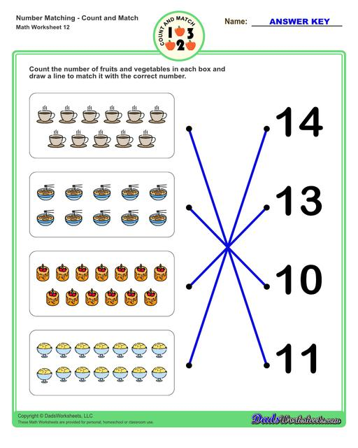 Number matching worksheets for preschool students to practice identifying and matching counts of objects to their number.  Number Matching V12