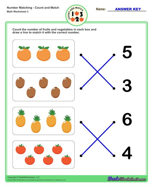Number matching worksheets for preschool students to practice identifying and matching counts of objects to their number.  Number Matching V3