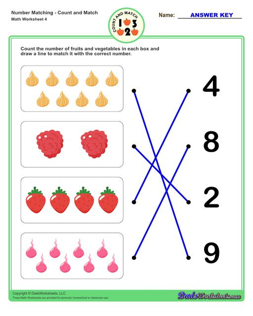 Number matching worksheets for preschool students to practice identifying and matching counts of objects to their number.  Number Matching V4