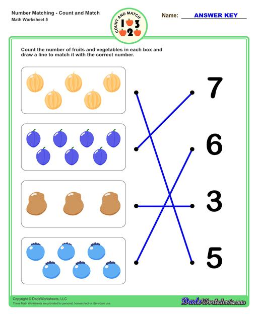 Number matching worksheets for preschool students to practice identifying and matching counts of objects to their number.  Number Matching V5