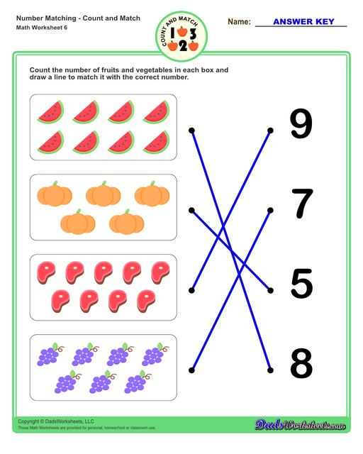 Number matching worksheets for preschool students to practice identifying and matching counts of objects to their number.  Number Matching V6