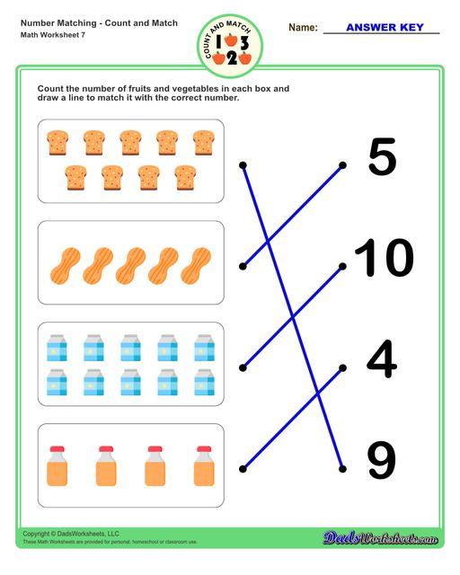 Number matching worksheets for preschool students to practice identifying and matching counts of objects to their number.  Number Matching V7