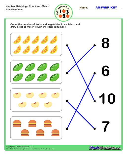 Number matching worksheets for preschool students to practice identifying and matching counts of objects to their number.  Number Matching V8
