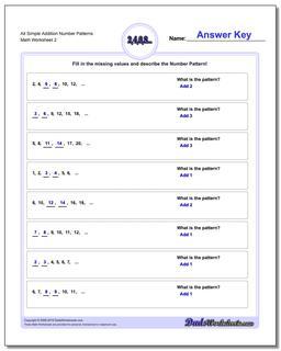 Alt Simple Addition Worksheet Number Patterns www.dadsworksheets.com/worksheets/number-patterns.html