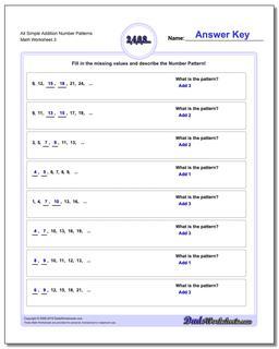 Alt Simple Addition Worksheet Number Patterns