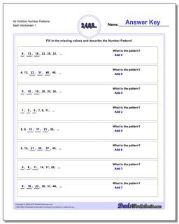 Number Patterns Alt Addition Worksheet