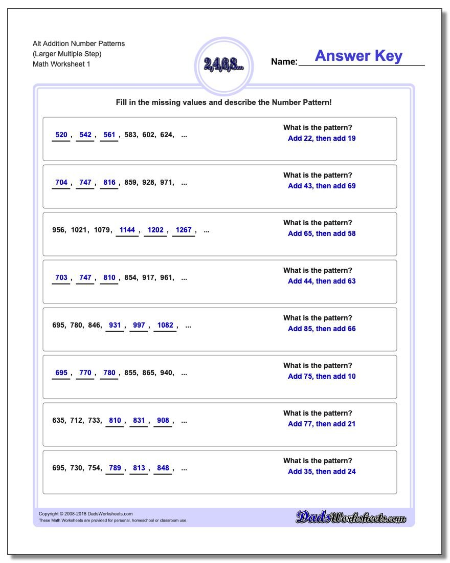 Number Patterns Alt Addition Worksheet (Larger Multiple Step)