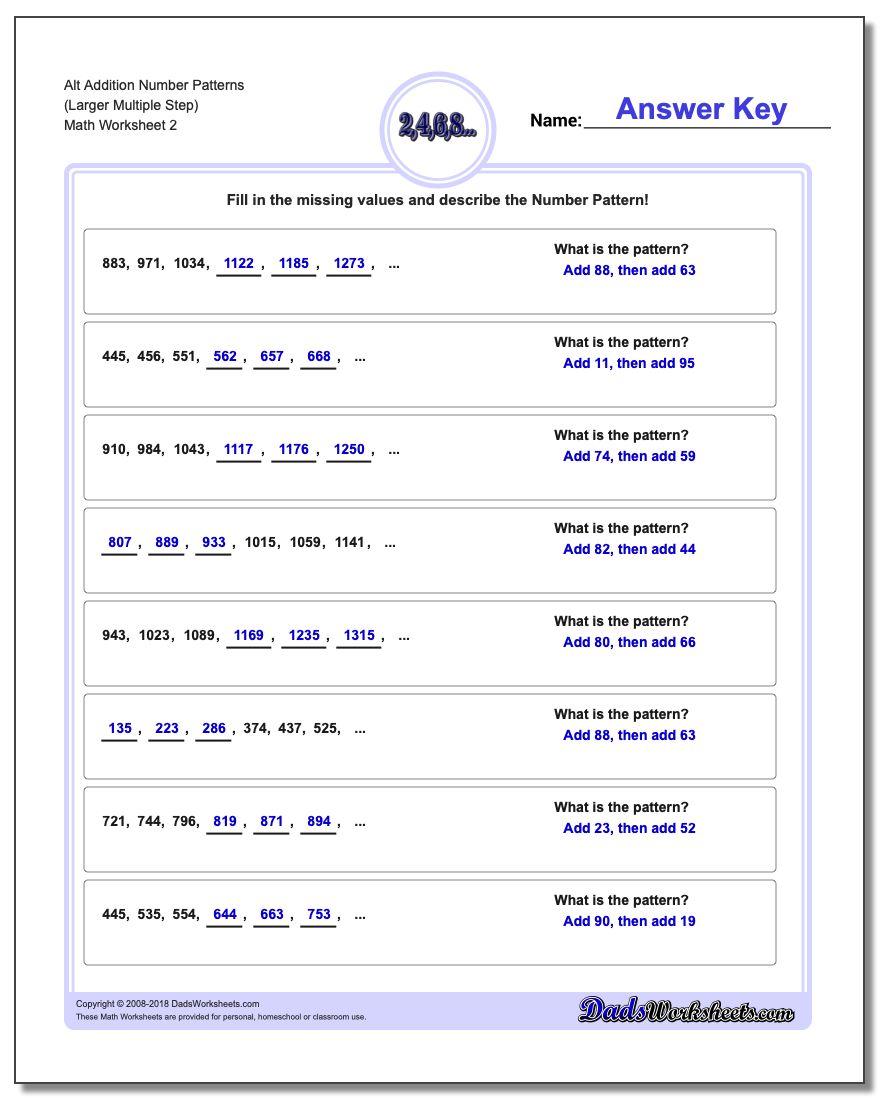 Alt Addition Worksheet Number Patterns (Larger Multiple Step) www.dadsworksheets.com/worksheets/number-patterns.html