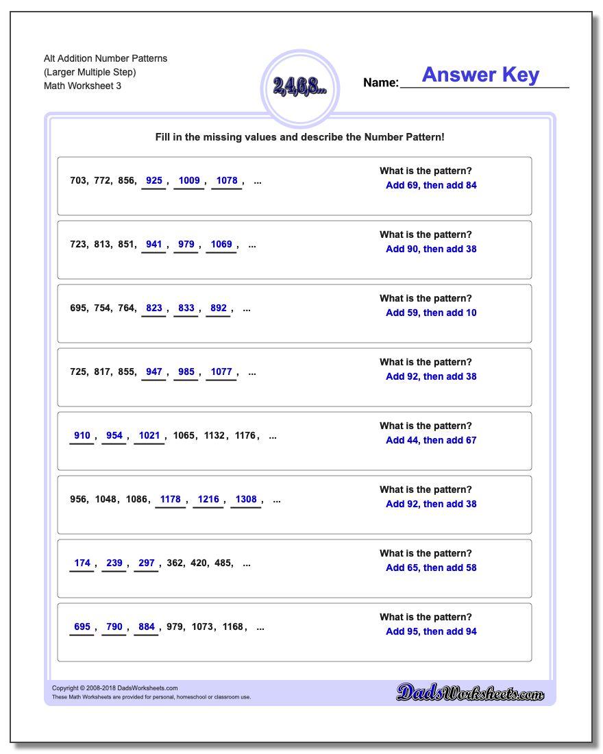 Alt Addition Worksheet Number Patterns (Larger Multiple Step)