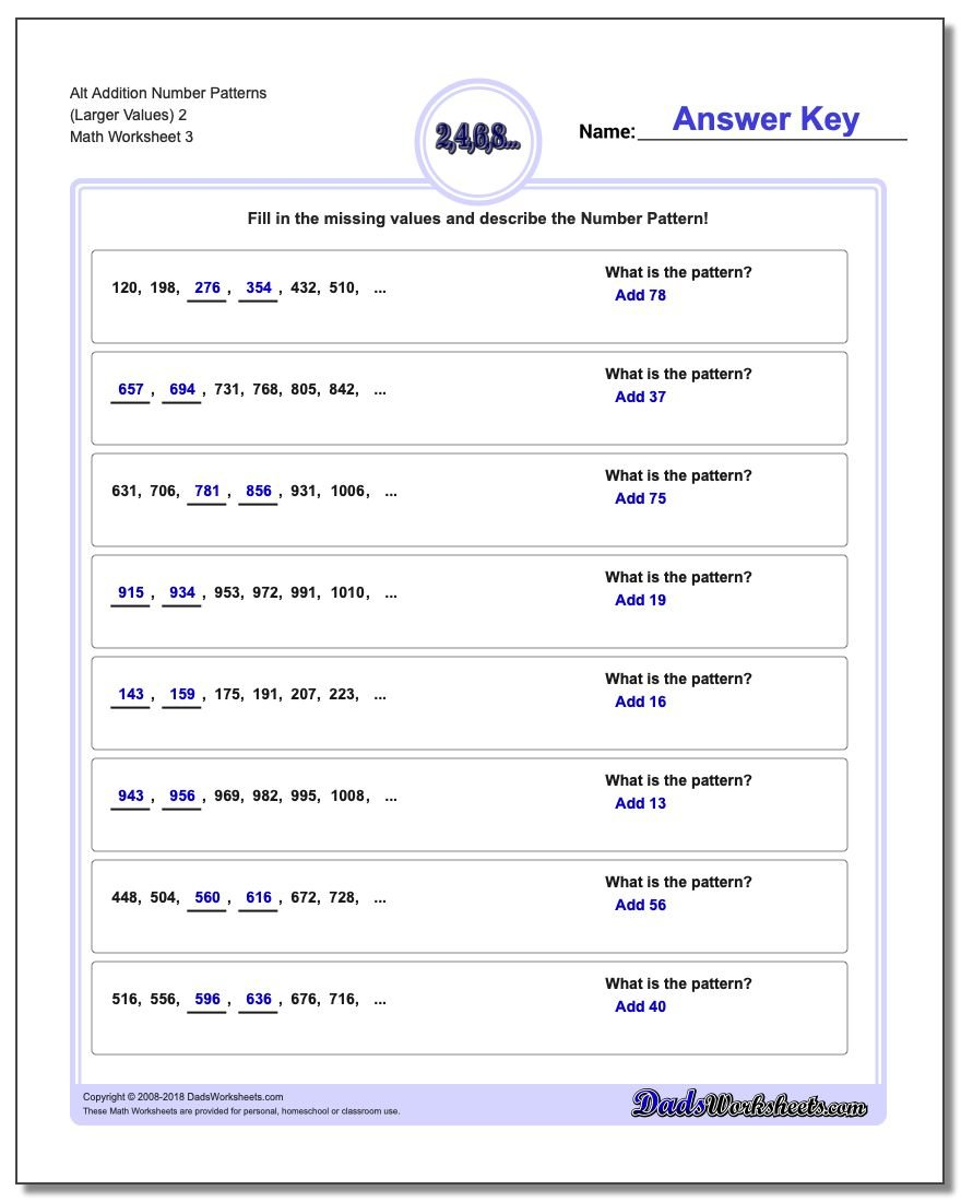 Alt Addition Worksheet Number Patterns (Larger Values) 2