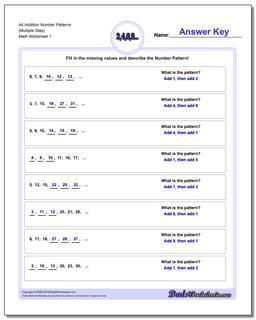 Number Patterns Alt Addition Worksheet (Multiple Step)