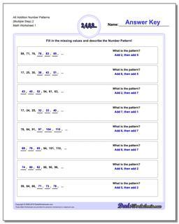 Number Patterns Alt Addition Worksheet (Multiple Step) 2