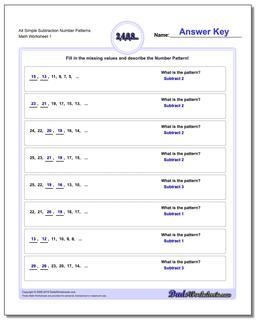 Number Patterns Alt Simple Subtraction Worksheet