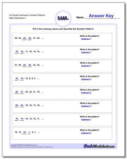 Alt Simple Subtraction Worksheet Number Patterns