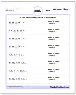 Alt Subtraction Worksheet Number Patterns