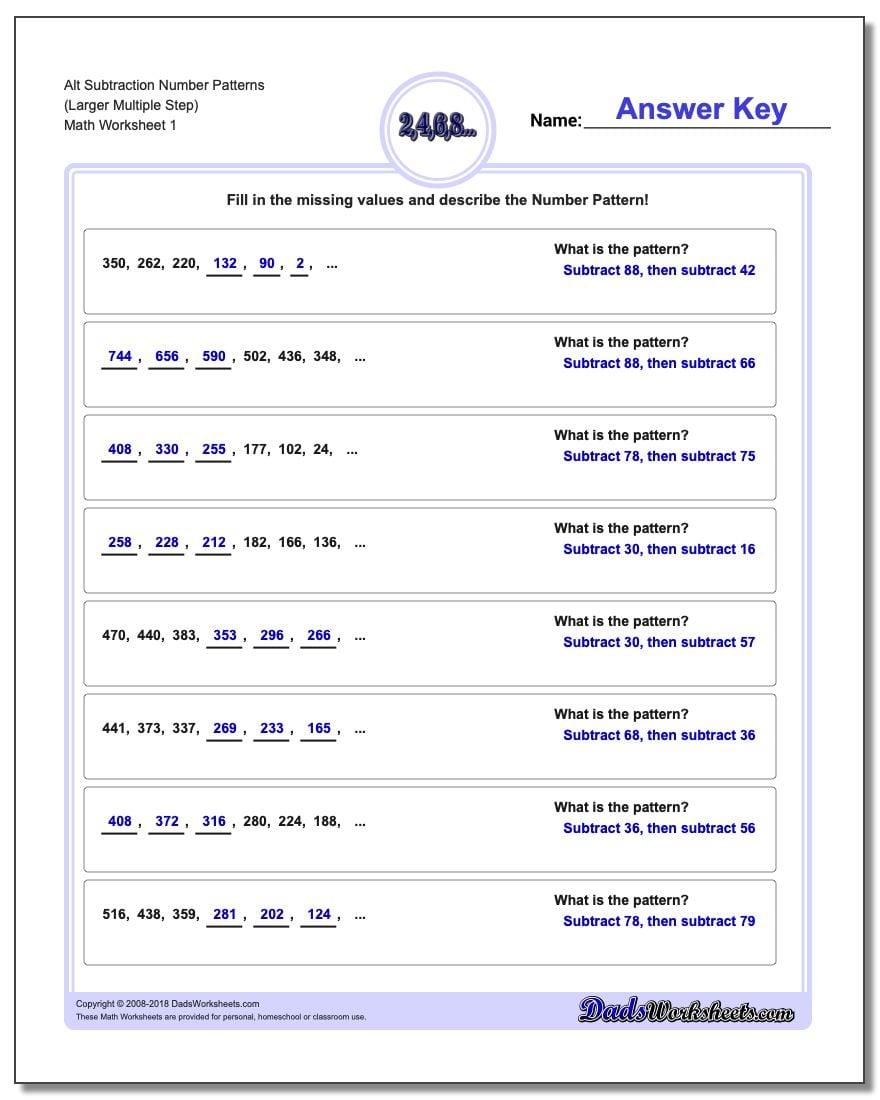Number Patterns Alt Subtraction Worksheet (Larger Multiple Step)