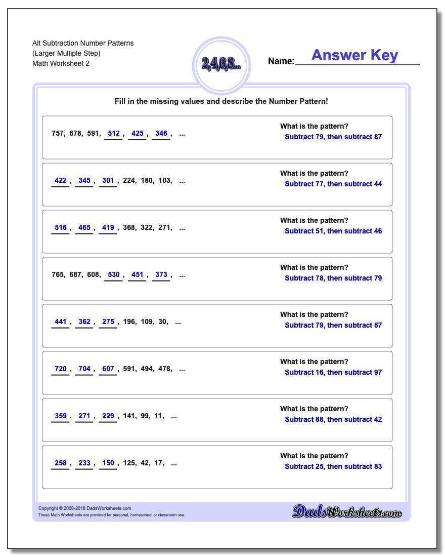 Alt Subtraction Worksheet Number Patterns (Larger Multiple Step) www.dadsworksheets.com/worksheets/number-patterns.html