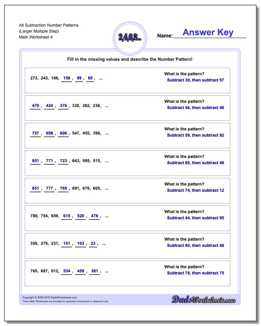 Alt Subtraction Worksheet Number Patterns (Larger Multiple Step)