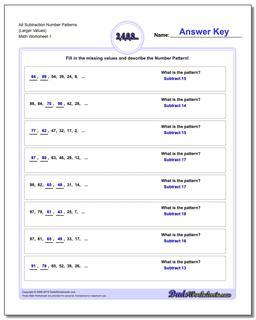 Number Patterns Alt Subtraction Worksheet (Larger Values)