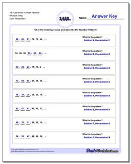 Number Patterns Alt Subtraction Worksheet (Multiple Step)