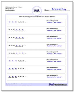 Number Patterns Alt Subtraction Worksheet (Multiple Step) 2