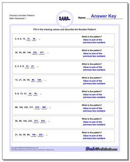Number Patterns Fibonacci Worksheet